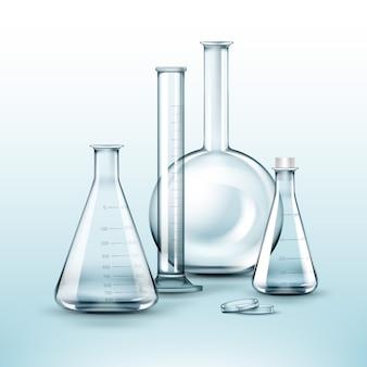 Vektorsatz transparenter chemischer glaslaborkolben, reagenzglas isoliert auf hintergrund