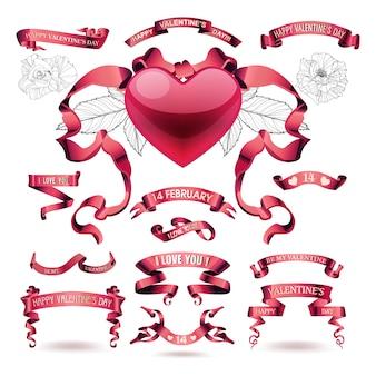 Vektorsatz valentinsgrußtagesfahnen