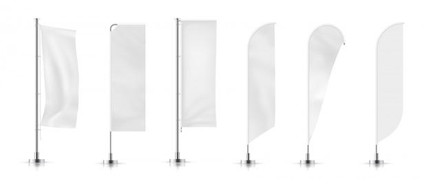 Vektorsatz verschiedene arten weiße wehende anzeigenfahnenflagge. vektor-mock-up.