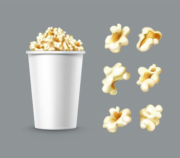 Vektorsatz verschiedener popcornkerne mit weißem eimer schließen seitenansicht lokalisiert auf grauem hintergrund