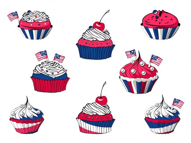 Vektorsatz von 4. juli-karikaturkleinen kuchen, amerikanische bonbons