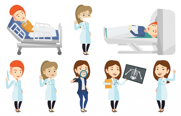Vektorsatz von arztcharakteren und patienten.