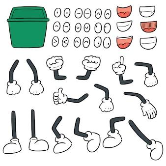 Vektorsatz von bereiten abfallkarikatur auf