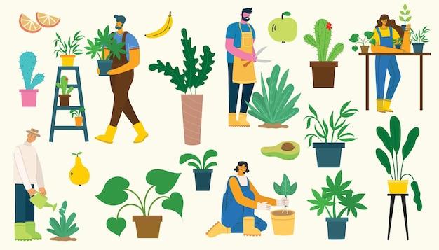 Vektorsatz von dorfbewohnern mit bio-lebensmitteln, blumen und pflanzen im flachen design