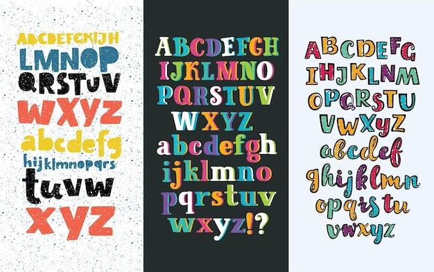 Vektorsatz von drei unterschiedlichen englischen alphabeten.