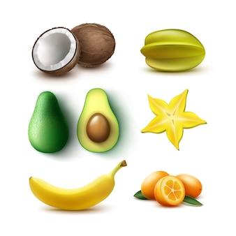 Vektorsatz von ganzen und halb geschnittenen tropischen früchten avocado, banane, kokosnuss, karambola, sternfrucht, kumquat lokalisiert auf weißem hintergrund