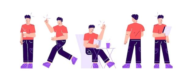 Vektorsatz von geschäftscharakter-posen und -aktionen. ein hübscher geschäftsmann mit bart, der mit verschränkten armen steht, am telefon spricht, mit den schultern zuckt und seinen finger hochhält.