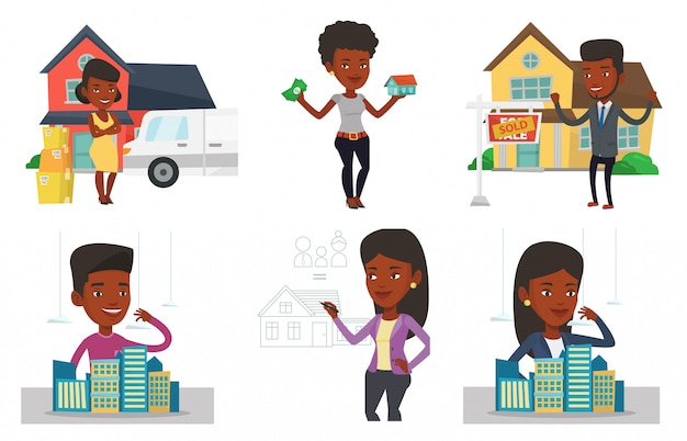 Vektorsatz von immobilienmaklern und hausbesitzern.