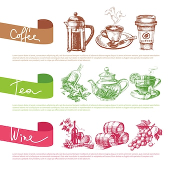 Vektorsatz von kaffee-, tee- und weinskizzenillustrationen. menü-design-vorlagen