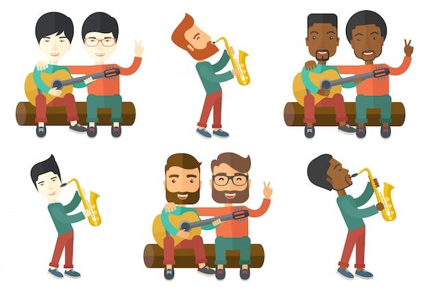 Vektorsatz von musikercharakteren.