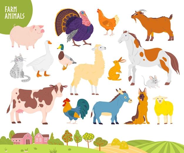 Vektorsatz von nutztieren: schwein, huhn, kuh, pferd usw. mit gemütlicher dorflandschaft, haus, garten, feld. weißer hintergrund. flacher handgezeichneter stil. für etikett, banner, logo, buch, alphabetillustration