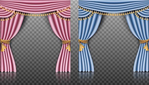 Vektorsatz von rosa und blauen vorhängen.
