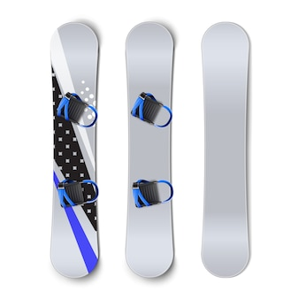 Vektorsatz von snowboards: leer, mit mustern und bindungen vordere rückansicht lokalisiert auf weißem hintergrund