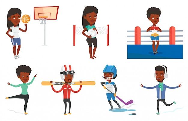 Vektorsatz von sportcharakteren.