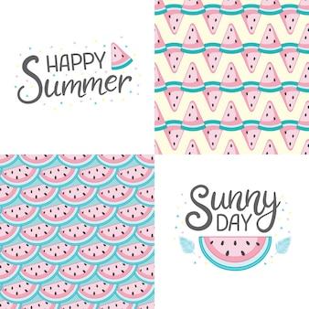 Vektorsatz von vier sommerkarten mit früchten und phrasen. schöne poster für kinderzimmer oder schlafzimmer. hintergründe mit sommerfrüchten, eis, tropischen blättern und cocktails. handgezeichnete buchstaben.