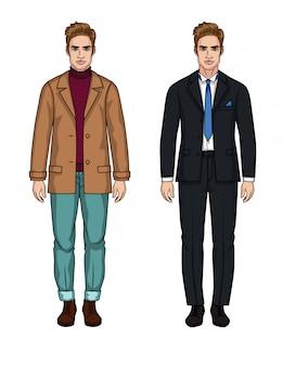 Vektorsatz von zwei hübschen europäischen männern. ein stilvoller typ in einem schwarzen anzug mit einem weißen hemd und einer blauen krawatte und ein lässiger typ im alltagsstil in jeans und jacke