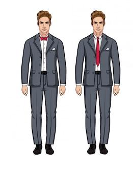 Vektorsatz von zwei hübschen europäischen männern in den klagen. ein stilvoller kerl in einem grauen anzug mit einem weißen hemd und einer roten krawatte