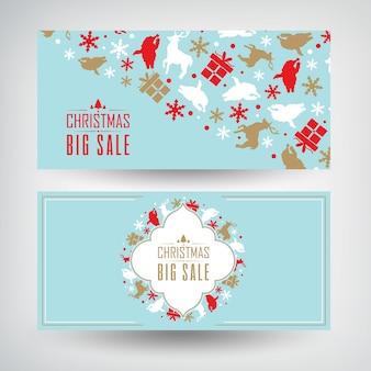 Vektorsatz von zwei weihnachtsverkaufsfahnen mit informationen über rabatte auf blau