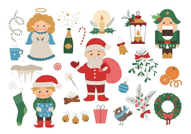 Vektorsatz weihnachtselemente mit weihnachtsmann im roten hut, engel, nussknacker, elfe isoliert. nette lustige flache artillustration für dekorationen oder neujahrsentwurf.