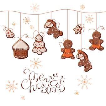 Vektorsatz weihnachtslebkuchen, die an den perlen hängen.