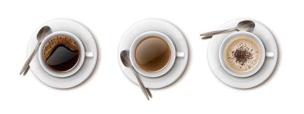 Vektorsatz weiße kaffeetassen für café- und restaurantgetränkemenü americano cappuccino schwarzer kaffee