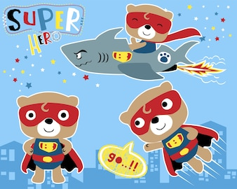Vektorsatz wenig Superheldkarikatur