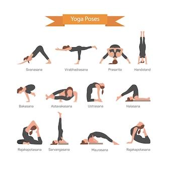 Vektorsatz yogahaltungen lokalisiert. dehnungspositionen des menschlichen körpers. asana yoga-konzept.