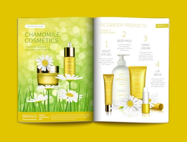 Vektorschablone für glatte kosmetische zeitschrift.