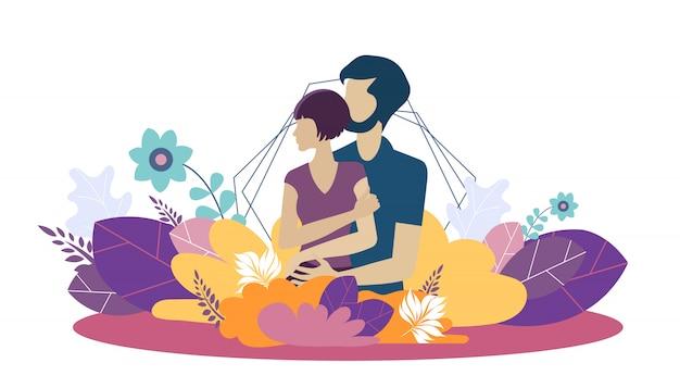 Vektorschablone für wachsende familie und liebe Premium Vektoren