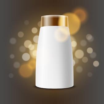 Vektorschablone für werbung für kosmetische produkte. cremeflaschenschablone für markenlogo auf glänzendem hintergrund