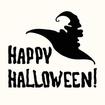 Vektorschablone happy halloween-titel mit magischem hexenhut isoliert auf weißem hintergrund