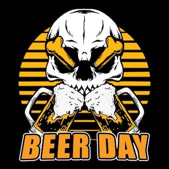Vektorschädelkopf mit gekreuztem knochen und bier