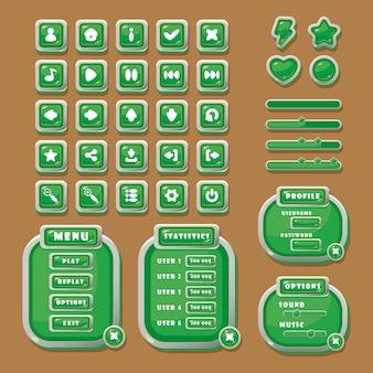 Vektorschaltflächen mit symbolen fortschrittsbalken und navigationsfenster für die gestaltung der spieloberfläche