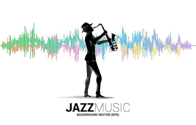Vektorschattenbild des mannes und des saxophons, die mit musik-equalizer-hintergrund stehen. konzepthintergrund für klassisches musikkonzert und erholung.