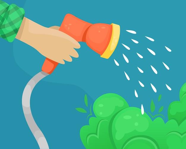 Vektorschlauch mit wasserdüse in der hand. bewässerung von pflanzungen.