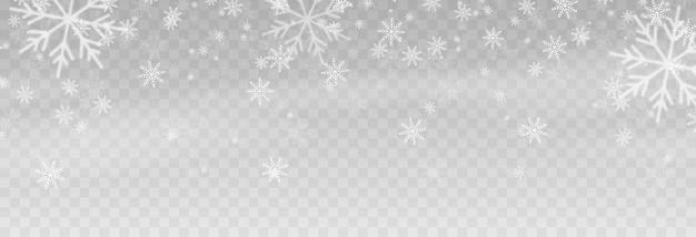 Vektorschnee schnee auf einem isolierten transparenten hintergrund schneefall blizzard winter schneeflocken