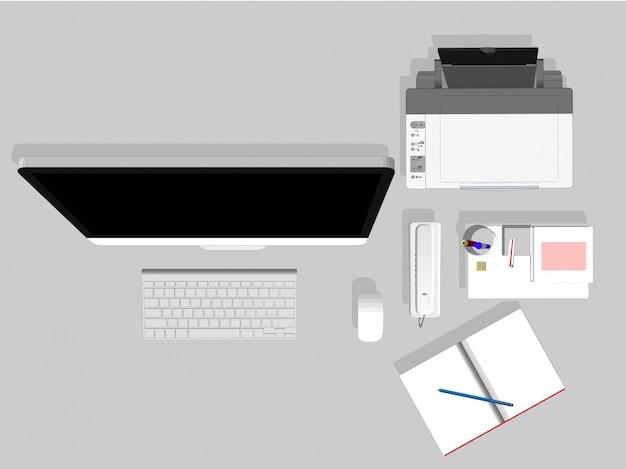 Vektorschreibtischausrüstung für das büro