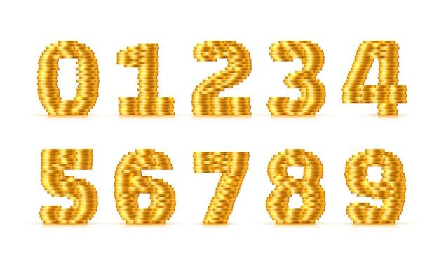 Vektorschriftart aus goldenen münzen. münznummern. nummer eingestellt. vektor-illustration