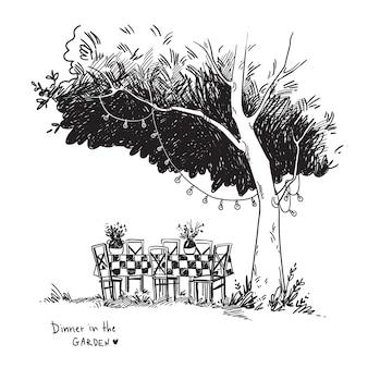 Vektorschwarz-weiße strichzeichnung eines gemütlichen esstisches in einem garten unter dem baum