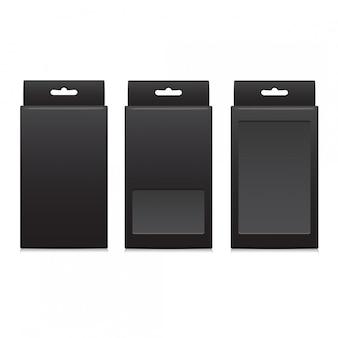 Vektorschwarzes paket für software, elektronische geräte und andere produkte