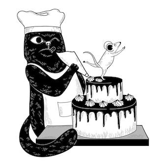 Vektorschwarzkatzenchef verziert den kuchen. maus posiert oben auf dem kuchen. lustige doodle-illustration für drucke, poster, karten, design