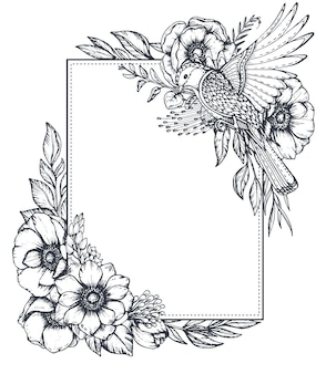 Vektorschwarzweiss-blumenrahmen mit blumensträußen von hand gezeichneten anemonenblumen, knospen, blättern und vogel im skizzenstil. schöne vorlage für einladungen, grußkarten.