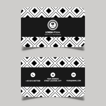 Vektorschwarzweiss-geometrische muster-visitenkarte