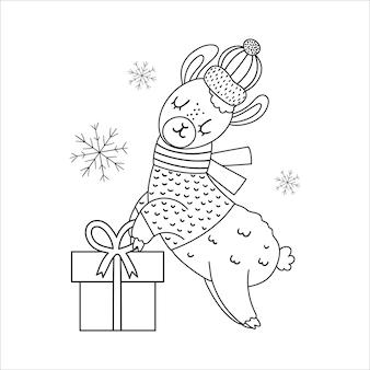Vektorschwarzweiss-lama in hut und schal mit geschenkbox und schneeflocken. niedliche wintertierlinienillustration mit geschenk in den händen. lustiges weihnachtskartendesign. druckvorlage für das neue jahr