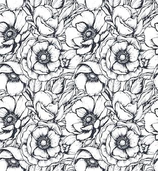 Vektorschwarzweiss-nahtloses muster mit hand gezeichneten anemonenblumen, -knospen und -blättern im skizzenstil. schöner endloser hintergrund.
