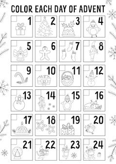 Vektorschwarzweiss-weihnachts-adventskalender mit traditionellen feiertagssymbolen. netter winterplaner für kinder. festliches poster- oder malvorlagendesign mit weihnachtsmann, tannenbaum, hirsch, geschenk