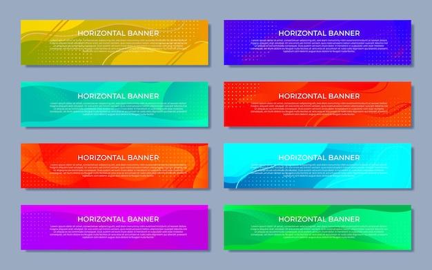 Vektorset abstrakter designvorlagen horizontale banner für web und print mit platz unter text und kopfzeile. vektorillustration im modernen flachen stil.