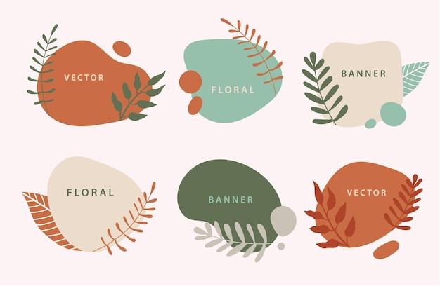 Vektorset aus flüssigen organischen formen und abzeichen mit pflanzen, blättern. fließende formen banner. vorlage für logo, branding, webdesign, social media post, visitenkarte, einladung, druck, flyer