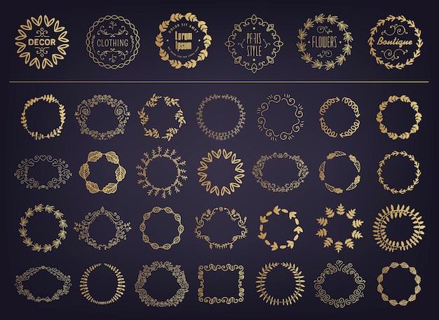 Vektorset aus goldenen blumensilhouetten, kreisförmigen lorbeerblättern, weizen- und eichenkränzen, die eine auszeichnung, leistung, heraldik, adel darstellen.