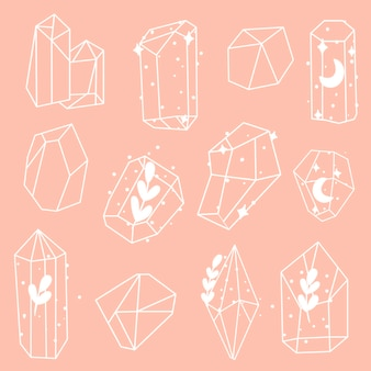 Vektorset aus mineralien, kristallen, edelsteinen, diamanten. magische kristalle mit verschiedenen elementen